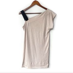 EDUN Taupe One Shoulder Cotton Tunic REVOLVE